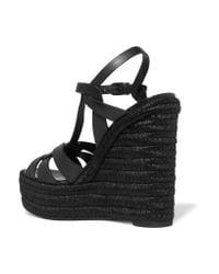 Saint Laurent - Black Tribute Leather Espadrille Wedge Sandals - Lyst