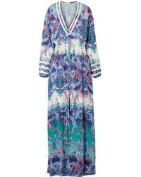 Melissa Odabash - Blue Caroline Smocked Printed Voile Maxi Dress - Lyst
