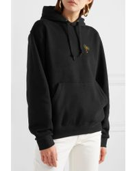 YEAH RIGHT NYC Black Palm Tree Embroidered Cotton-blend Hooded Top