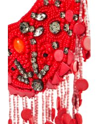 Etro - Red Grosgrain-trimmed Beaded Necklace - Lyst