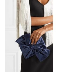 Oscar de la Renta - Blue Rogan Bow-embellished Satin Box Clutch - Lyst