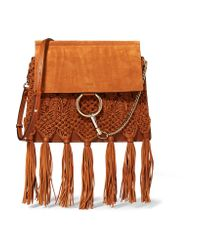 Chloé - Brown Faye Medium Braided Leather And Suede Shoulder Bag - Lyst