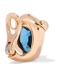 Pomellato - Blue Ritratto 18-karat Rose Gold, Topaz And Diamond Clip Earrings - Lyst
