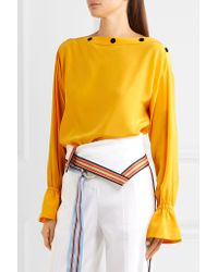Emilio Pucci - Yellow Studded Silk Crepe De Chine Blouse - Lyst