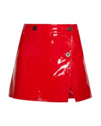 Topshop Unique | Red Patent-leather Wrap Mini Skirt | Lyst