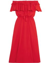 J.Crew - Red Poppy Off-the-shoulder Ruffled Cotton And Linen-blend Dress - Lyst