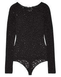 Wolford - Black Arabesque Stretch-lace Bodysuit - Lyst