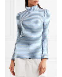 J.Crew - Blue Tissue Striped Cotton-jersey Turtleneck Top - Lyst