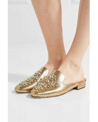 MICHAEL Michael Kors - Edie Embellished Metallic Snake-effect Leather Slippers - Lyst