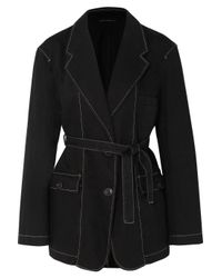 Lemaire - Black Belted Cotton Jacket - Lyst