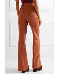 Prada Brown Pleated Wool-blend Hopsack Wide-leg Pants