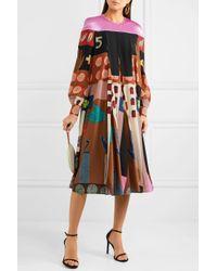Valentino - Black Satin-paneled Printed Silk Dress - Lyst