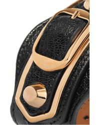 Balenciaga - Black Metallic Edge Textured-leather And Gold-tone Bracelet - Lyst