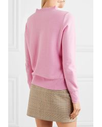 J.Crew - Pink Ruffle-trimmed Cotton-blend Sweater - Lyst