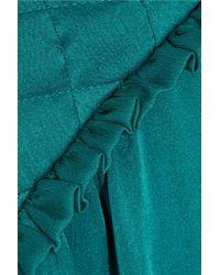 Balmain Green Washed-silk Mini Dress