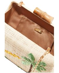 Kayu - Multicolor Embroidered Woven Raffia Clutch Bag  - Lyst