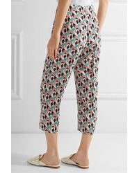 Prada - Multicolor Cropped Printed Silk Crepe De Chine Straight-leg Pants - Lyst