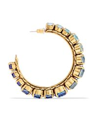 Erickson Beamon | Blue Rhapsody Gold-tone Crystal Hoop Earrings | Lyst
