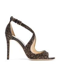 Jimmy Choo - Multicolor Emily Glittered Leather Sandals - Lyst