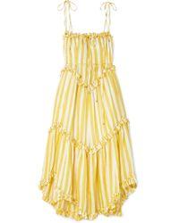 Zimmermann - Yellow Lumino Floating Striped Linen Dress - Lyst