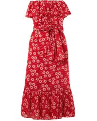 Lisa Marie Fernandez - Red Sabine Strapless Printed Cotton-voile Maxi Dress - Lyst