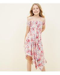 396476e53a78 New Look Girls Pink Tropical Print Hanky Hem Bardot Dress in Pink - Lyst