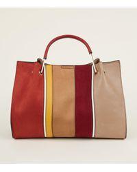 New Look - Red Stripe Front Metal Handle Tote Bag - Lyst