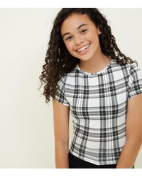 73dd56ebe55 New Look Girls White Check T-shirt in White - Lyst