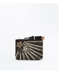 New Look - Black Star Sequin Embellished Zip Top Purse - Lyst