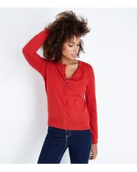 New Look - Red Crew Neck Cardigan - Lyst