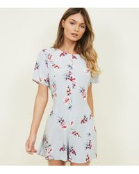 ca685d0641d New Look Light Grey Floral Wide Leg Playsuit in Gray - Lyst