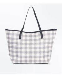 New Look - Gray Pale Grey Check Shopper Bag - Lyst