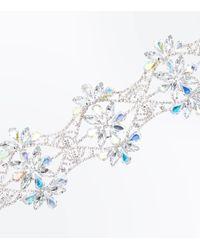 New Look - Metallic Silver Gem Embellished Flower Choker - Lyst