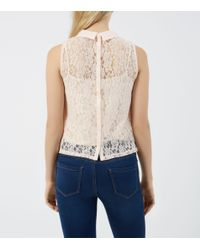 New Look - Shel Pink Collared Corded Lace Boxy Shell Top - Lyst