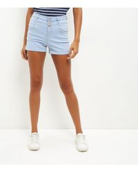 New Look - Blue High Waisted Denim Shorts - Lyst