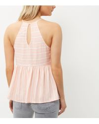New Look - Pink Petite Coral Stripe Peplum Cami - Lyst