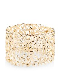 New Look - Metallic Gold Leaf Wide Stretch Bracelet - Lyst