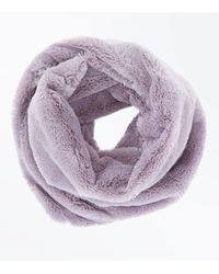 New Look - Gray Pale Grey Teddy Faux Fur Snood - Lyst