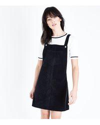 New Look - Black Corduroy Pocket Front Pinafore Dress - Lyst