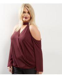 New Look - Multicolor Curves Burgundy Choker Neck Cold Shoulder Top - Lyst