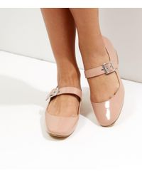 New Look - Mid Pink Patent Buckle Strap Block Heel Pumps - Lyst