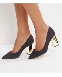 New Look | Wide Fit Black Suedette Metal Heel Pointed Court Shoes | Lyst