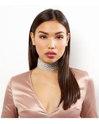 New Look - Metallic Silver Diamanté Wide Filigree Choker - Lyst