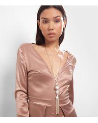 New Look - Metallic Gold Tassle Stone Drop Pendant Necklace - Lyst