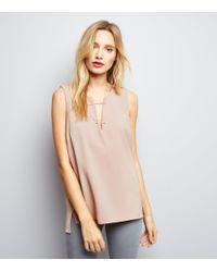 New Look | Shell Pink Bar Front Sleeveless Top | Lyst