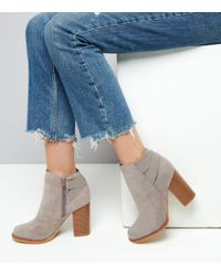 New Look - Gray Grey Suedette Elasticated Strap Contrast Heel Boots - Lyst