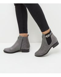 New Look | Gray Grey Buckle Strap Metal Trim Chelsea Boots | Lyst