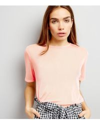 New Look | Pink Mesh Back T-shirt | Lyst