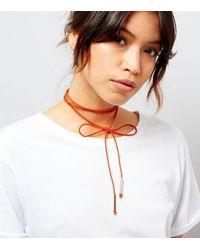 New Look   Orange Suedette Bow Tie Choker   Lyst