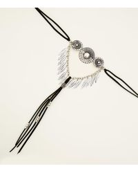 New Look - Black Feather Pendant Choker Drop Necklace - Lyst
